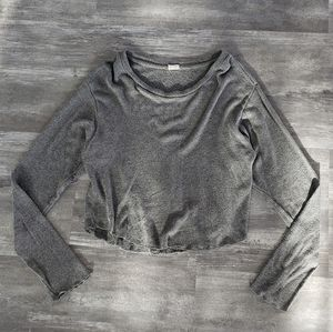 Grey Cropped Melville Thin Sweater Long Sleeve